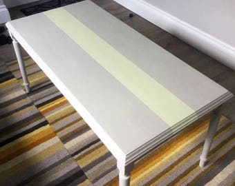 Upcycled Grey Coffee Table With Stripe in Autentico Chalk Paint