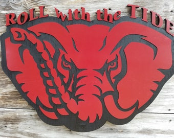 Alabama Crimson Tide Football Wooden Decor Bama Man Cave Sign Roll with the Tide - Red/Black