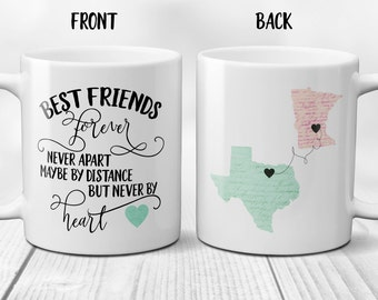 Long Distance Mug, Best Friends Mug Personalized, State to State Mug, State Mugs Friends, Personalized Friend Mug, Best Friend Gift, 11/15oz