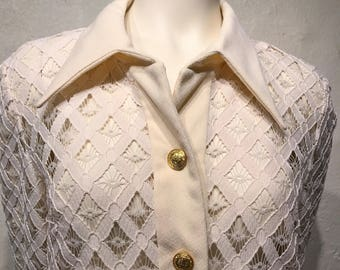 Vintage Lace Long Sleeved Button Up Blouse
