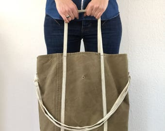 Repurposed military tent tote bag, crossbody bag, shoulder bag