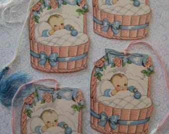Vintage Baby Shower Tally / Bridge Tally / Card Tally / Babies in Basket / Tally Lot / Die Cut / Pink and Blue