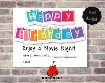 Happy Birthday Redbox® Movie Night Gift Tag - Birthday Card - Enjoy a Movie Nite - Redbox Printable - Instant Digital Download