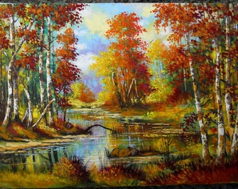 Painting with autumn birch