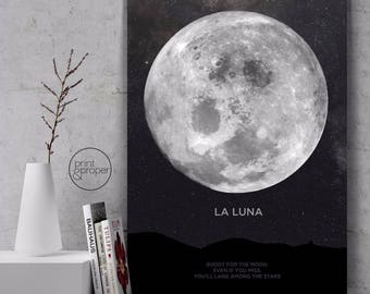 LA LUNA - Moon Scandi Print - Art Poster Canvas - On Trend