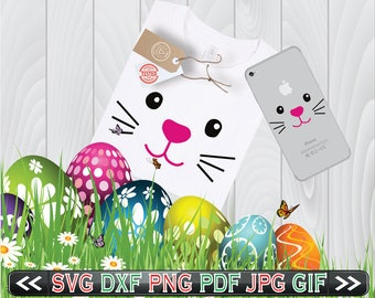 Easter Bunny Face SVG Files for Cutting Cricut Rabbit Designs - Easter SVG Files - SVG Files for Silhouette - Instant Download
