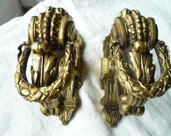 PAIR Antique FRENCH GILDED Curtain Tie Backs , French Gilt Window Hardware, Antique French Gilded Hooks.