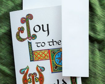 Joy To The World – Illuminated Celtic Calligraphy Christmas Carol Greeting Card 5x7 – Benefiting Compassion International