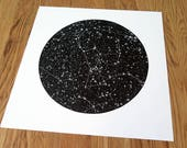 Orion / Linogravure d'Orion, Black version, constellation