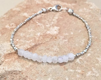 Moonstone and silver bracelet made with moonstone beads, Hill Tribe silver faceted and rondelle beads and a sterling silver trigger clasp