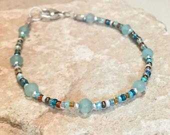 Multicolored bracelet, seed bead bracelet, chalcedony bracelet, sterling silver bracelet, sundance style bracelet, gift for her