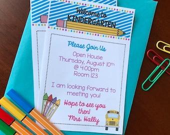 Welcome to Kindergarten Invitation - Back to School - Meet the Teacher - Open House - Printable - Editable - INSTANT DOWNLOAD