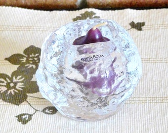Kosta Boda crystal Snowball, designed by Ann Warff, 9cm vintage tealight votive holder, votive included, gift idea