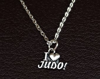 I love Judo Necklace, Judo Charm, Judo Pendant, Judo Jewelry, Martial Arts Jewelry, Martial Arts Necklace, Judoka Necklace, Judo Coach