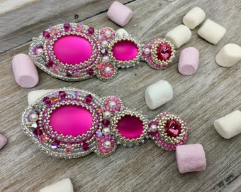 Statement Pearl earrings Silver Pink/Swarovski crystals/cabochon/bead embroidery/Baroque/earrings pink/embroidery/vintage
