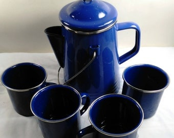 Beautiful Cobalt Blue Enamel Percolator Coffee Pot and 4 Mugs/ No Maunfacture Markings/Coffee Pot Had Not Been Used/Great Condition