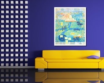 Wall Art Print Blue Green Painting Impressionist Style Modern Art Cityscape Painting Abstract Art Print Contemporary Art Home Decor Print