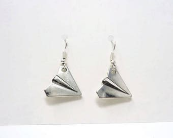 Paper Plane Earrings / Silver Origami Earrings / Simple Earrings / Geek Gift / Drop Earrings / Gift Under 5 / Origami Gift / Stocking FIller