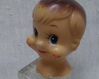 """FRECKLE BOY HEAD, 2.5"""", Vintage doll head, Vinyl, Doll making supply"""