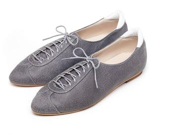 Sale 35% off! Gray oxford shoes, women shoes, flat shoes, gray flat shoes, unique shoes, handmade leather shoes by Burlinca. Alexander model