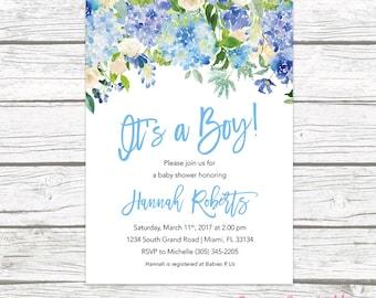 It's a Boy Baby Shower Invitation, Blue Baby Shower Invitation Boy, Garden Baby Shower Invite, Rustic Baby Shower, Printable Invitation