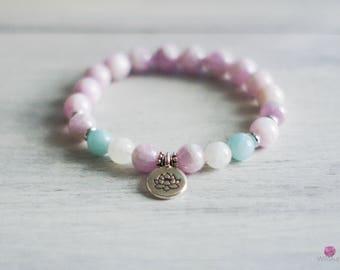 Kunzite Gemstone Bracelet - Wrist Mala - Healing Bracelet - Healing Jewelry - Beaded Yoga Bracelet - Intention Bracelet - Gemstone Jewelry