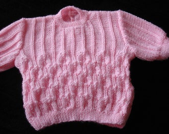 "Baby Girl's Short Sleeve Jumper knitted in Pink Bella Baby ""Baby Wonder"" 3 ply yarn"