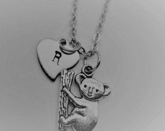 Koala Bear Necklace, Silver Koala Bear Charm Necklace, Koala Bear Gifts, Animal Gifts, Initial Necklace, Personalized  Necklace