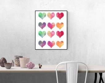 Heart Watercolor Print | Printable wall art decor | 8x10 Downloadable Print and PDF