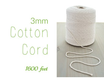Macrame Cord // Cotton Twine // 3mm Natural Cotton Rope // Cotton String // Undyed Cotton Cord // 1600 ft