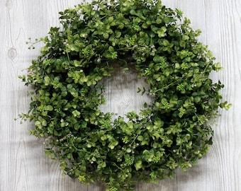 Ships Free, Baby Eucalyptus & Boxwood Wreath, Boxwood Wreath, Outdoor Wreaths, Natural Looking Boxwood Wreath, Artificial Boxwood Wreaths