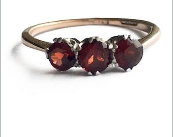 Antique Garnet Three Stone Ring