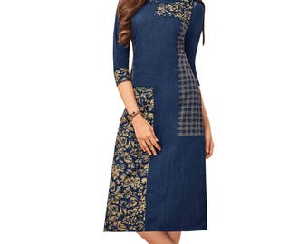 Indian Pakistan Bollywood Designer Kurti Designer Women Ethnic Blue & Beige Colored Madal Kurti Top Tunic Kurta women kurti top