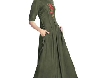 Indian Pakistan Bollywood Designer Designer Women Ethnic Green Colored Modal & Crepe Georgette kurti Top Tunic Kurta women kurti top