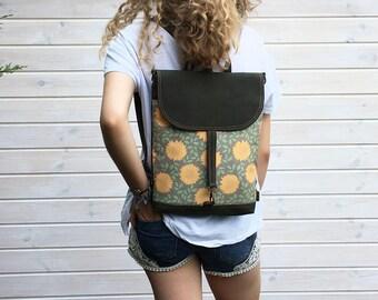 "Vegan Mini Floral Backpack, Women's 2in1 Rucksack, Functional Bag, Waterproof Crossbody Bag, 11"" Macbook Backpack, City Backpack, Vegan Bag"