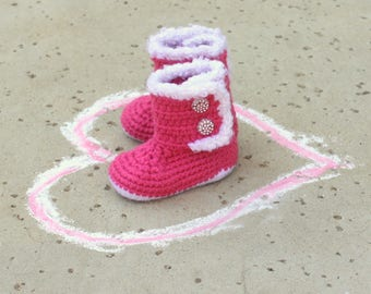 Girls Pink Baby BOOTS, Warm BABY Boots, Crochet Newborn Boots, Baby BLING boots// Request different color below