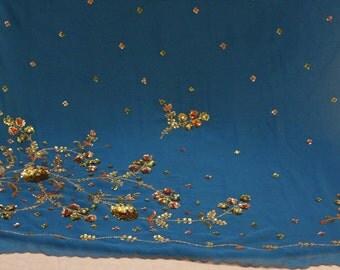 sequin curtains fabric, sheer home decor, bollywood dress, sari wrap, 5 yards fabric, boho wall decor, used saree, indian dress, indian sari