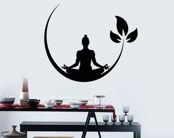 Vinyl Wall Decal Meditation Pose Buddhism Yoga Studio Stickers Mural (#2540di)