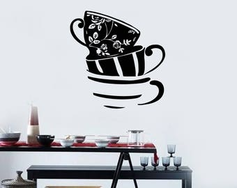 Tea Cups Vinyl Wall Decal Kitchen Dining Room Cafe Window Art Decor Stickers Mural (#2678di)