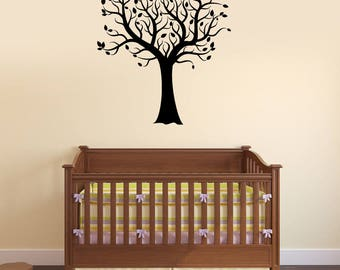 Beautiful Tree Vinyl Wall Decal Leaves Home Decorating Room Interior Stickers Mural (#2686di)