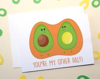 You're My Other Half! Avocado Illustration Greetings Card (Love/Anniversary/Marriage/Boyfriend/Girlfriend/Partner/Valentines)