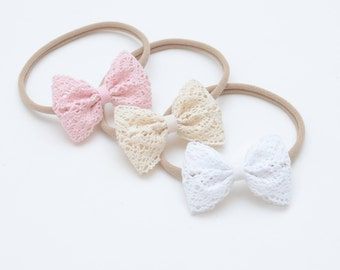 Cotton White Classic Small Bow Lace Headband Bow One size Pink Ecru White
