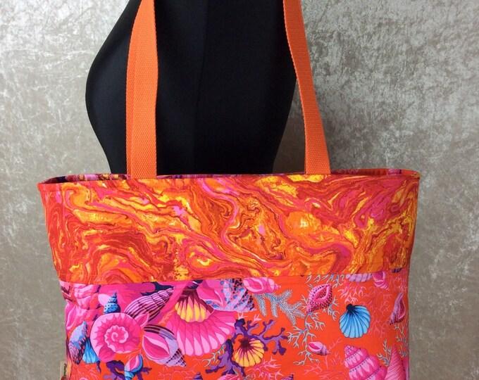 Shell Bouquet Day Bag Tote fabric handbag shoulder bag purse Kaffe Fassett Philip Jacobs Handmade in England