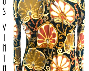 "UK 14 Vintage 1960s Psychedelic Tunic Smock Top Brown Gold Floral Psychedelic Mad Men EU 42 US 10 Bust 40"" 102cm"
