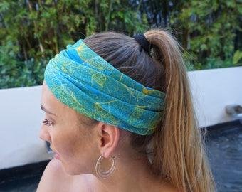 Green Yoga Headband / Wide Yoga Headbands / Fitness Headband / Running Headband / Yoga Wide Headband / Womens Headbands / Gift For Her