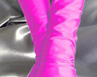 X Long spandex fingerless gloves Arm warmers neon pink
