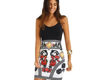 Floral thigh Length Bodycon Casual Dress - Black - White - Red