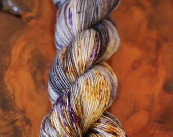 "Hand Dyed ""Granite Blossoms"", Sparkle Sock, Silver Stellina, Knitting, Crochet, Yarn"
