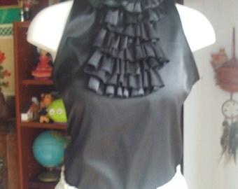 Vintage  Black Blouse. High Neck, Sleeveless, Ruffled Bib. Dark Victorian, Edwardian, Strega, Vampire, Goth. Pre Loved.Size S.
