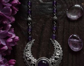 Moon Jewelry, moon necklace, crescent moon pendant, amethyst jewelry, amethyst necklace, purple amethyst, wiccan jewelry, fantasy jewelry